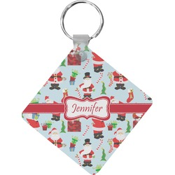 Santas w/ Presents Diamond Key Chain (Personalized)