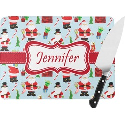 Santas w/ Presents Rectangular Glass Cutting Board (Personalized)