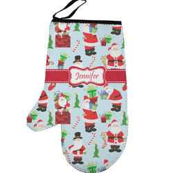 Santas w/ Presents Left Oven Mitt (Personalized)