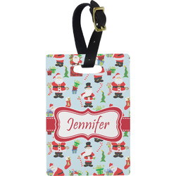 Santas w/ Presents Rectangular Luggage Tag (Personalized)