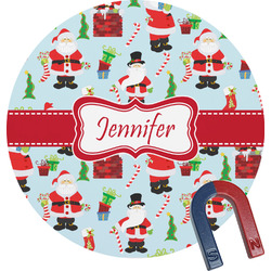 Santa and Presents Round Fridge Magnet (Personalized)