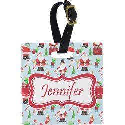 Santas w/ Presents Square Luggage Tag (Personalized)