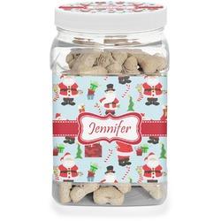 Santas w/ Presents Pet Treat Jar (Personalized)