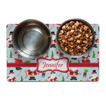 Santas w/ Presents Dog Food Mat (Personalized)