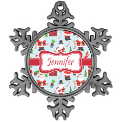 Santa and Presents Vintage Snowflake Ornament (Personalized)