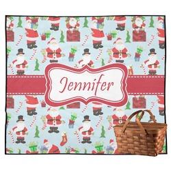 Santas w/ Presents Outdoor Picnic Blanket (Personalized)