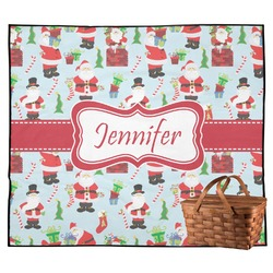 Santas w/ Presents Outdoor Picnic Blanket (Personalized)