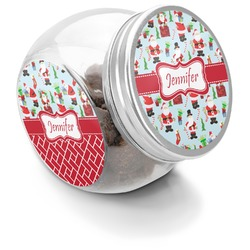 Santas w/ Presents Puppy Treat Jar (Personalized)