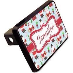 """Santas w/ Presents Rectangular Trailer Hitch Cover - 2"""" (Personalized)"""