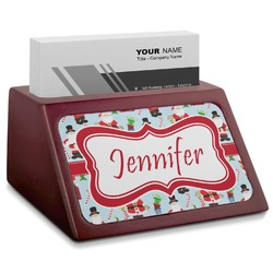 Santas w/ Presents Red Mahogany Business Card Holder (Personalized)