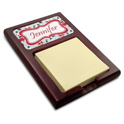 Santas w/ Presents Red Mahogany Sticky Note Holder (Personalized)