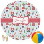 Santas w/ Presents Round Beach Towel (Personalized)
