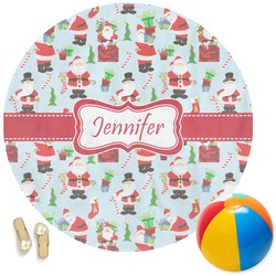 Santas w/ Presents Round Beach Towel (Personalized)