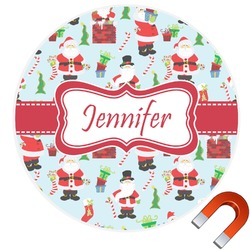 Santas w/ Presents Round Car Magnet (Personalized)