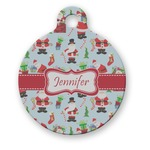 Santa and Presents Round Pet Tag (Personalized)