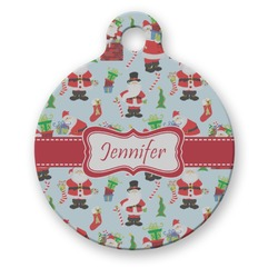 Santas w/ Presents Round Pet Tag (Personalized)