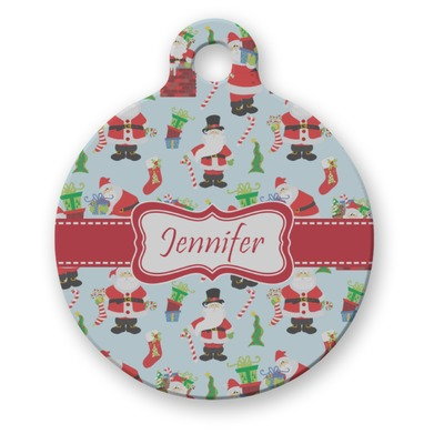 Santa and Presents Round Pet ID Tag (Personalized)
