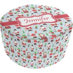 Santas w/ Presents Round Pouf Ottoman (Personalized)