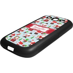 Santas w/ Presents Rubber Samsung Galaxy 3 Phone Case (Personalized)
