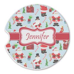 Santa and Presents Sandstone Car Coasters (Personalized)