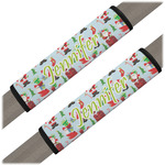 Santas w/ Presents Seat Belt Covers (Set of 2) (Personalized)