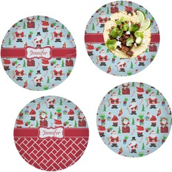 Santas w/ Presents Set of 4 Lunch / Dinner Plates (Glass) (Personalized)