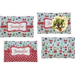 Santas w/ Presents Set of 4 Rectangular Dinner Plates (Personalized)