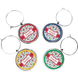 Santas w/ Presents Wine Charms (Set of 4) (Personalized)