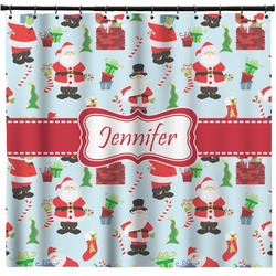 Santas w/ Presents Shower Curtain (Personalized)