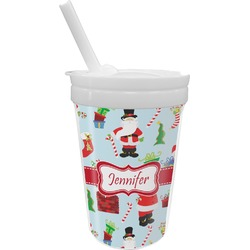 Santas w/ Presents Sippy Cup with Straw (Personalized)