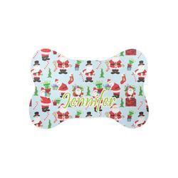 Santa and presents Bone Shaped Dog Food Mat (Small) (Personalized)