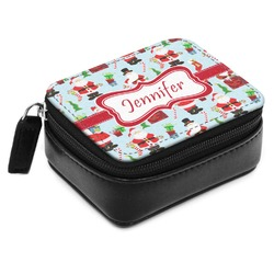 Santas w/ Presents Small Leatherette Travel Pill Case (Personalized)