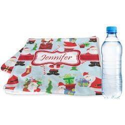 Santas w/ Presents Sports & Fitness Towel (Personalized)