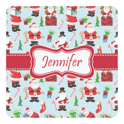Santas w/ Presents Square Wall Decal (Personalized)
