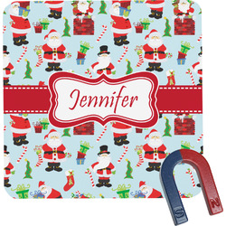 Santas w/ Presents Square Fridge Magnet (Personalized)
