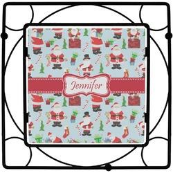 Santas w/ Presents Square Trivet (Personalized)