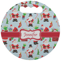 Santas w/ Presents Stadium Cushion (Round) (Personalized)