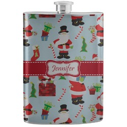 Santas w/ Presents Stainless Steel Flask (Personalized)