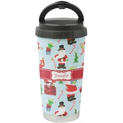 Santas w/ Presents Stainless Steel Travel Mug (Personalized)