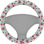 Santas w/ Presents Steering Wheel Cover (Personalized)