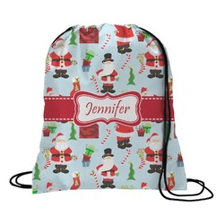 Santa and Presents Drawstring Backpack (Personalized)