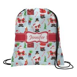 Santas w/ Presents Drawstring Backpack (Personalized)