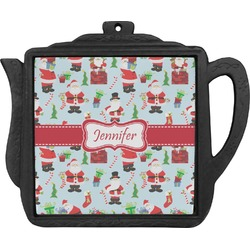 Santas w/ Presents Teapot Trivet (Personalized)