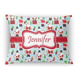 Santas w/ Presents Rectangular Throw Pillow Case (Personalized)