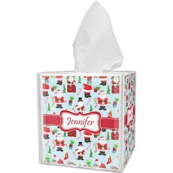 Santa and Presents Tissue Box Cover w/ Name or Text