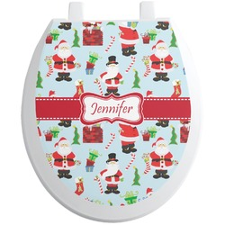 Santa and Presents Toilet Seat Decal (Personalized)