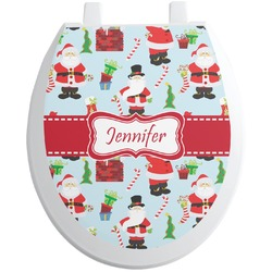 Santas w/ Presents Toilet Seat Decal (Personalized)