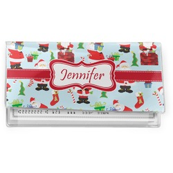 Santa and Presents Vinyl Checkbook Cover w/ Name or Text