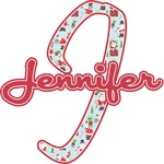 Santas w/ Presents Name & Initial Wall Decal (Personalized)