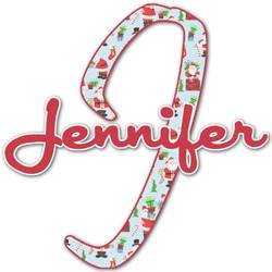 Santa and Presents Name & Initial Decal - Custom Sized (Personalized)